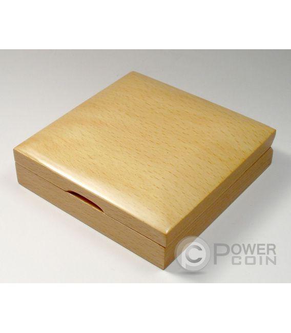 COFANETTO Scatola Legno Moneta Medaglia Coin Case Box 55 mm