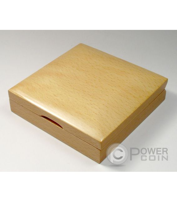 WOODEN COIN BOX Jewel Case Etui Package For Münzen Medals 55 mm