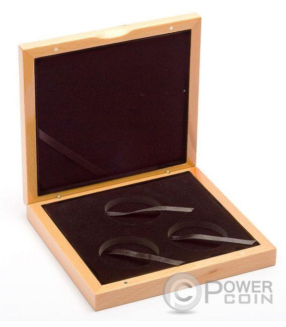 COFANETTO Scatola Legno Per 3 Tre Monete Medaglie Coin Wooden Case Box 45 mm