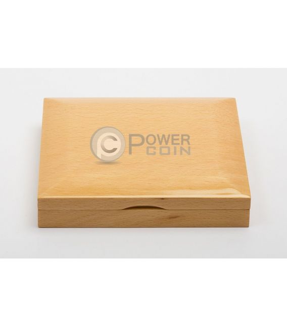 WOODEN COIN BOX Jewel Case Etui Package For 3 Three Coins Medals 45 mm