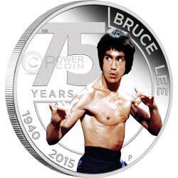 BRUCE LEE Kung Fu Arte Marziale 75 Anniversario Moneta Argento 1$ Australia 2015