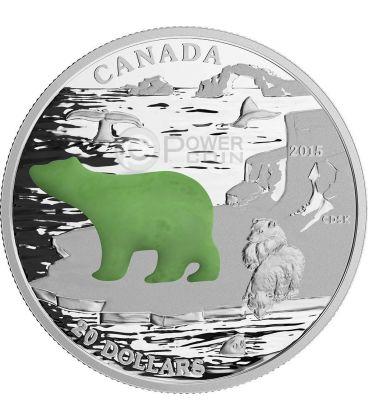 ORSO POLARE Polar Bear Giada Icone Canadesi Moneta 1 Oz Argento 20$ Canada 2015