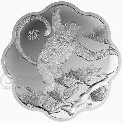 MONKEY LOTUS Scimmia Lunar Year Zodiaco Cinese Moneta Argento 15$ Canada 2016