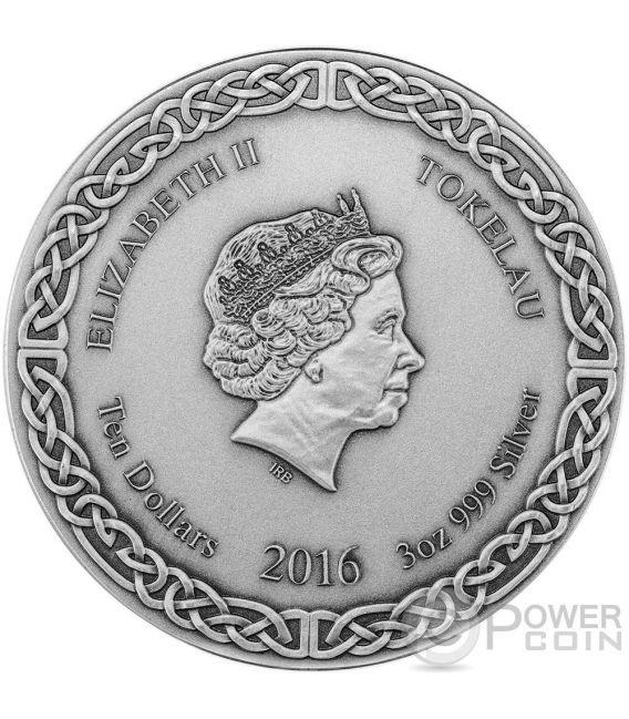 ODIN RULER OF AESIR Legends of Asgard Max Relief 3 Oz Moneda Plata 10$ Tokelau 2016