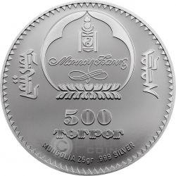 MONKEY HiCarv Handmade Lunar Year Chinese Zodiac Silver Coin 500 Togrog Mongolia 2016