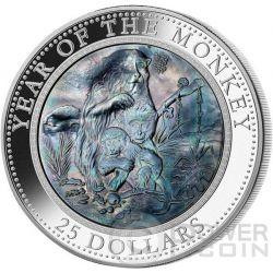 MONKEY MOTHER OF PEARL Lunar Year Series 5 Oz Серебро Монета 25$ Острова Кука 2016