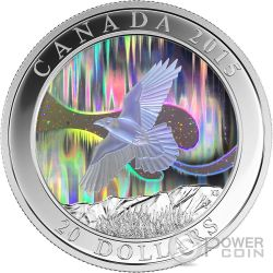 AURORA DEL NORD Corvo The Raven Northern Lights Moneta Argento 20$ Canada 2015