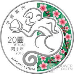 MONKEY Lunar Year 1 Oz Plata Proof Moneda 20 Patacas Macao Macau 2016
