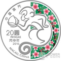 MONKEY Lunar Year 1 Oz Silber Proof Münze 20 Patacas Macao Macau 2016