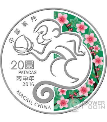 MONKEY Lunar Year 1 Oz Silver Proof Coin 20 Patacas Macao Macau 2016