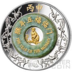 MONKEY Jade Lunar Year 2 Oz Moneda Plata 2000 Kip Laos 2016
