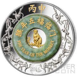 MONKEY Jade Lunar Year 2 Oz Серебро Монета 2000 Кип Лаос 2016