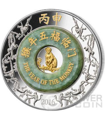 SCIMMIA Giada Monkey Lunar Year Moneta Argento 2 Oz 2000 Kip Laos 2016