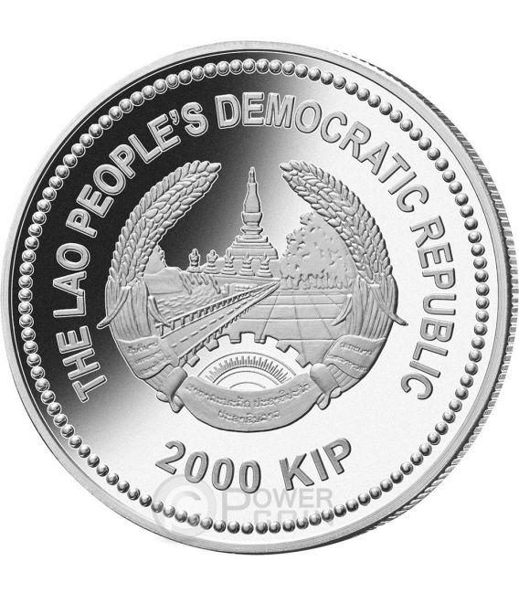 MONKEY Jade Lunar Year 2 Oz Silber Münze 2000 Kip Laos 2016