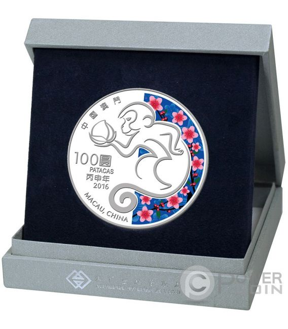 MONKEY Lunar Year 5 Oz Silber Proof Münze 100 Patacas Macao Macau 2016