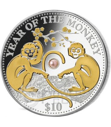 MONKEY PINK PEARL Chinese Lunar Year 1 Oz Silver Coin 10$ Fiji 2016