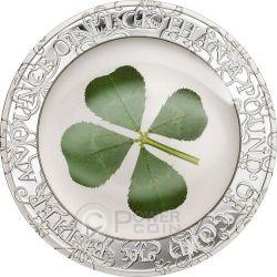 FOUR LEAF CLOVER Ounce Of Luck Silver Coin 1 Oz 5$ Palau 2016
