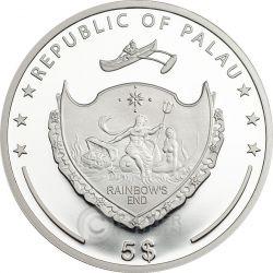 FOUR LEAF CLOVER Ounce Of Luck Серебро Монета 1 Oz 5$ Палау 2016
