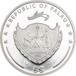QUADRIFOGLIO PORTAFORTUNA Moneta Argento 5$ Palau 2016