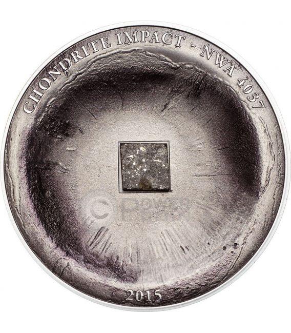 CHONDRITE IMPACT Meteorite NWA 4037 Moneta Argento 5$ Cook Islands 2015