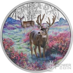 MULE DEER Misty Morning Silver Proof Coin 1 oz 20$ Canada 2015