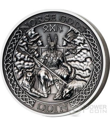 ODIN Norse Gods Odino Alti Rilievi Moneta Argento 2 Oz 10$ Cook Islands 2015