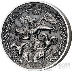 THOR Norse Gods Alti Rilievi Moneta Argento 2 Oz 10$ Cook Islands 2015
