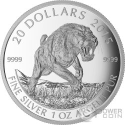 SCIMITAR SABRE TOOTH CAT Prehistoric Animals Silver Proof Coin 20$ Canada 2015