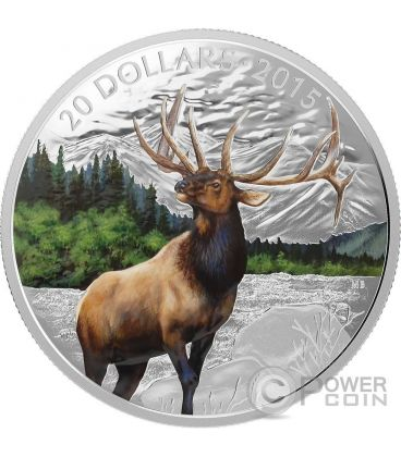 MAJESTIC ELK Silver Proof Coin 20$ Canada 2015