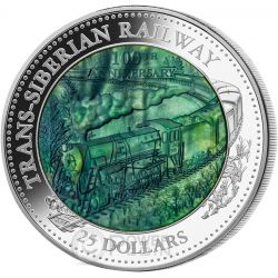 TRANS SIBERIAN RAILWAY 100 Anniversary Mother Of Pearl 5 Oz Moneda Plata 25$ Cook Islands 2016