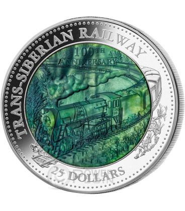 TRANS SIBERIAN RAILWAY 100 Anniversary Mother Of Pearl 5 Oz Silver Coin 25$ Cook Islands 2016