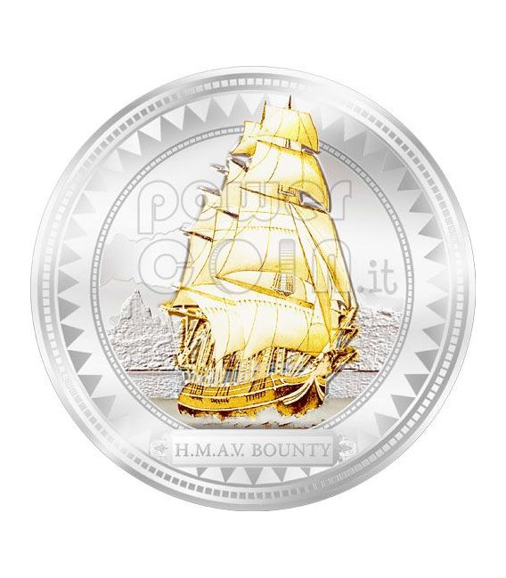 HMAV BOUNTY Moneda Plata Gilded 2$ Pitcairn Islands 2008