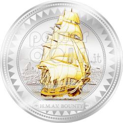 HMAV BOUNTY Moneta Argento Dorata 2$ Pitcairn Islands 2008