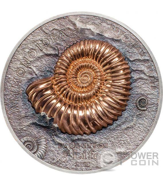 AMMONITE Evolution of Life Silver Coin 500 Togrog Mongolia 2015