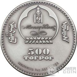 AMMONITE Evoluzione della Vita Moneta Argento 500 Togrog Mongolia 2015