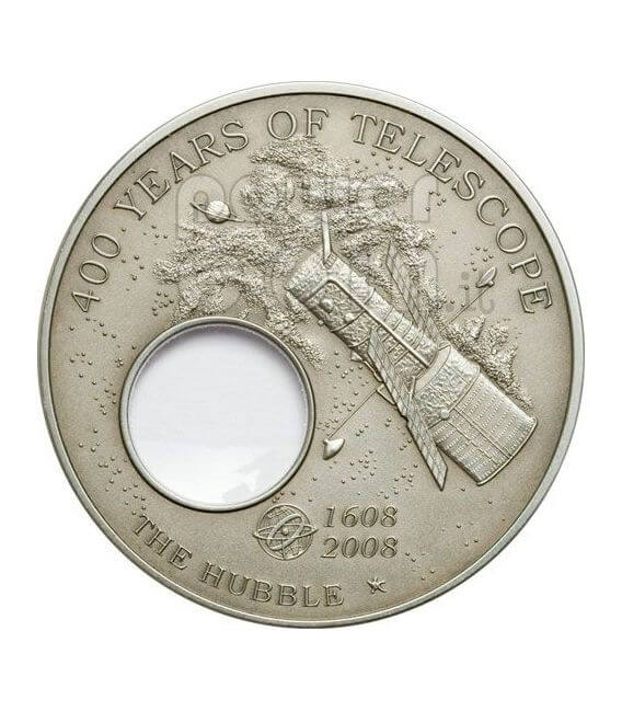 HUBBLE Telescopio 400th Anniversary Telescope Invention Moneda Plata 5$ Palau 2008