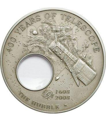 TELESCOPIO HUBBLE 400 Anniversario Invenzione Moneta Argento 5$ Palau 2008