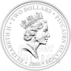 HMAV BOUNTY Moneda Plata Gilded 2$ Pitcairn Islands 2008