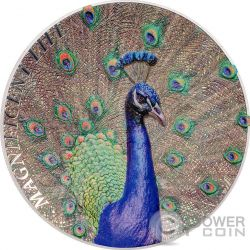 PAVONE Peacock Magnificent Life 1oz Moneta Argento 5$ Cook Islands 2015