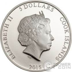 PEACOCK Magnificent Life 1oz Silver Coin 5$ Cook Islands 2015