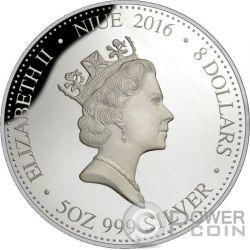 MONKEY Lunar Year Gold Plated 5 Oz Silber Proof Münze 8$ Niue 2016