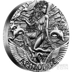 APHRODITE Goddesses of Olympus High Relief Rimless 2 Oz Silver Coin 2$ Tuvalu 2015