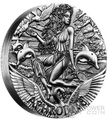 APHRODITE Afrodite Dea Olimpo Goddesses of Olympus Alti Rilievi Moneta Argento 2 Oz 2$ Tuvalu 2015