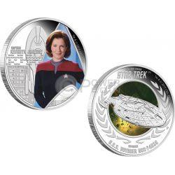 CAPTAIN KATHRYN JANEWAY U.S.S. VOYAGER NCC-74656 Star Trek Set Moneta Argento 1$ Tuvalu 2015