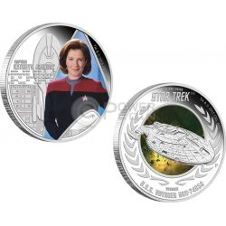 CAPTAIN KATHRYN JANEWAY U.S.S. VOYAGER NCC-74656 Star Trek Two Silver Coin Set 1$ Tuvalu 2015