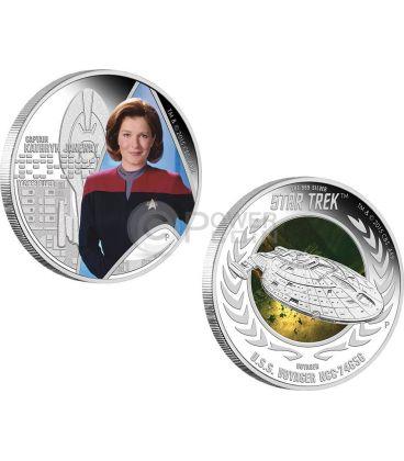 CAPTAIN KATHRYN JANEWAY U.S.S. VOYAGER NCC-74656 Star Trek Two Silver Coin Set 1$ Tuvalu 2015