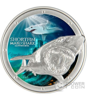 MAKO SHARK Ocean Predators Silver Coin 1 Oz 2$ Niue 2016