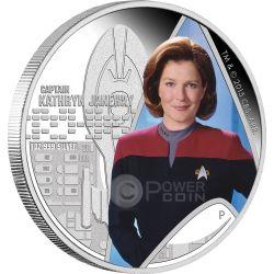 CAPTAIN KATHRYN JANEWAY Star Trek Voyager Silver Coin 1$ Tuvalu 2015