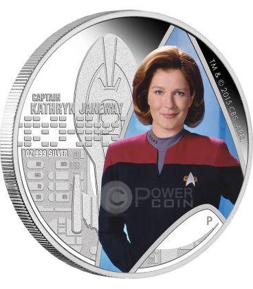 CAPTAIN KATHRYN JANEWAY Star Trek Voyager Moneta Argento 1$ Tuvalu 2015