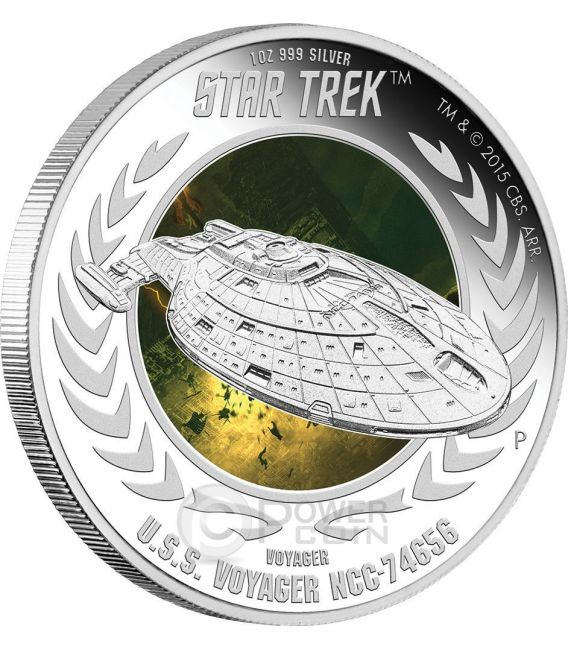 U.S.S. VOYAGER NCC-74656 Spaceship Star Trek Series Silber Münze 1$ Tuvalu 2015